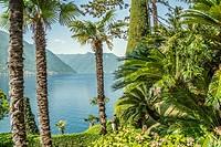 Garden of Villa Balbianello in Lenno at Lake Como, Lombardy, Italy.