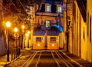 Portugal, Lisbon, Twilight view of the Gloria Funicular.