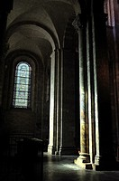 The Romanesque Basilica of Saint-Sernin, XI-XIIth centuries, is a UNESCO World Heritage Site. The aisle. Toulouse, Haute-Garonne department, Occitanie...