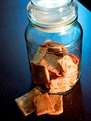 Jar with bread for tapas.