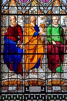 Apostles, Peter, Jacob, John stained glass, St Ann's Church, Manchester, England, United Kingdom.