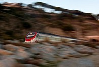 Commuter train traveling from Arenys de Mar to Caldes d´Estrac, Barcelona province, Spain