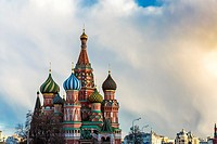 Russia, Moscow, Red Square, Kremlin, St. Basil's Cathedral.