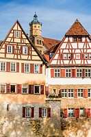 historic half timbered houses on the banks of river kocher, schwäbisch hall, baden-wuerttemberg, germany.