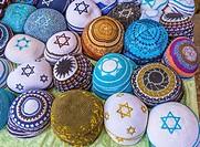 Kippahs Yarmulkes Jewish Hats Covers Israeli Star of David Souvenirs Safed Tsefat Israel. Kippahs/Yarmulkes are Jewish headgear worn by men during a J...