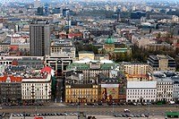 Panorama of Srodmiescie district of Warsaw in direction Srodmiescie Poludniowe - South Downtown, city center of Polish capital, facades of residential...