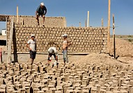 Construction workers building mudbrick house in development outside Shymkent Kazakhstan.