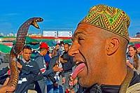 Snake Charmer at Djema el Fna Place. Marakesh, Morocco.