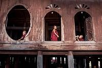 Novice Buddhist monks at the Shwe Yan Pyay Monastery in Nyaungshwe, Myanmar.