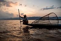 Inle Lake Fisherman at work, Nyaungshwe, Myanmar.