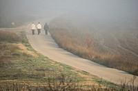 People walking and fog, Almansa, Albacete province, Castilla-La Mancha, Spain