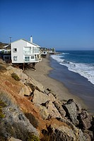 Beach front homes along Pacific Coast Highway in Malibu, California.