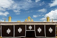 Lhasa, Tibet, China - The view of the golden roof of Romoche temple in the daytime.