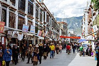 Lhasa, Tibet, China - The view in Barkhor Street in the daytime.