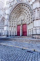 The entrance to cathedral of Saint Paul and Saint Peter or Cathedrale Saint-Pierre-et-Saint-Paul de Nantes in the city of Nantes.