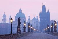 czech republic prague - charles bridge at dawn.