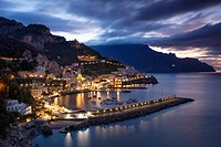 Early morning twilight view of Amalfi, Gulf of Salerno, Campania, Italy.