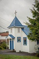 Newly Painted Church in Ucluelet on Vancouver Island, Canada.