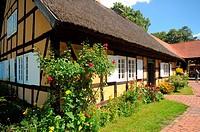 Farmhouse in open-air-museum in Lehde, Luebbenau, Spreewald, Brandenburg, Germany.