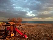 Playground on the Beach, Caldes d´Estrac, Maresme, Barcelona province, Catalonia, Spain.