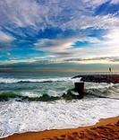 Beach. Arenys de Mar, Maresme, Barcelona province, Catalonia, Spain