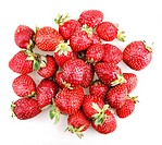 strawberries on a white background.