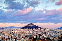 View of Mount Lycabettus, Athens, Greece.