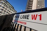 Park Lane street sign, London, UK.