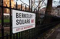 Berkeley Square road sign Mayfair, London, UK.