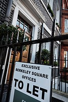 To let sign on commercial property in Berkeley Square, Mayfair; London, UK.