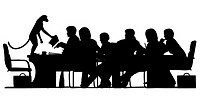 EPS8 editable vector silhouette of a business meeting chaired by a monkey with all figures as separate objects