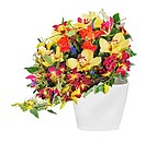 Colorful floral bouquet of roses and orchids arrangement centerpiece in vase isolated on white background.