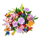 colorful floral bouquet from roses,cloves and orchids isolated on white background.