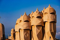 Barcelona, Spain, La Pedrera rooftop, designed by Antonio Gaudi.