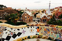 Barcelona, Park Guell, Spain. details of the modernism park designed by Antonio Gaudi.
