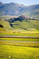 Piana Piccola, Castelluccio di Norcia, Umbria, Italy. valley landscape.