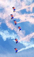 The RAF Falcons Parachute Display Team at Cosford Airshow 2014, Shropshire, England, Europe.