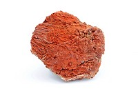 Red gypsum with hematite quartz crystals (silicate). Gypsum is a mineral composed of calcium sulfate dihydrate. This sample comes from Sierra de Albar...