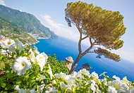 Ravello, Amalfi Coast, Sorrento, Italy. View of the coastline from Villa Rufolo.