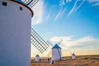 Windmills at dusk. Campo de Criptana, Ciudad Real province, Castilla La Mancha, Spain.
