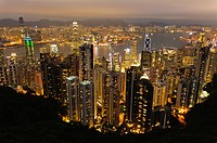 Panoramic view of the city skyline at night from the summit of Victoria Peak, Hong Kong Island, Hong Kong, China, East Asia