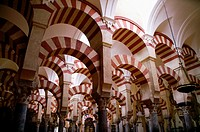 Cordoba (Spain). Arab arches in the interior of the Mosque of Cordoba.