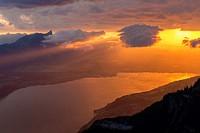Lake Thun at sunset, Niederhorn, Bernese Oberland, Switzerland.