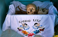 Bones are displayed in the Mayan village of Pomuch, Hecelchakan, Campeche, Yucatán península, October 30, 2016, as part of Day of the Dead celebration...
