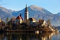 Slovenia, Lake Bled and Santa Maria Church.