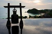 Bell at Pool of luxury hotel Pimalai Resort, Kantiang Beach, Ko Lanta or Koh Lanta island, Krabi, Thailand, Asia. Pimalai Resort & Spa is a luxury bea...