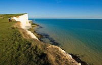 Seven Sisters. Chalk cliffs. South Downs National Park. East Sussex. England.