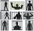 Set of editable vector designs of men behind prison bars