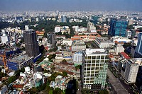 Aerial view of Ho Chi Minh City from the top of Bitexco Financial Tower, Vietnam.