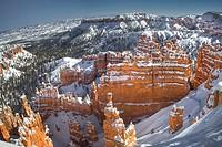 Fresh snow blankets Bryce Canyon National Park, Utah.